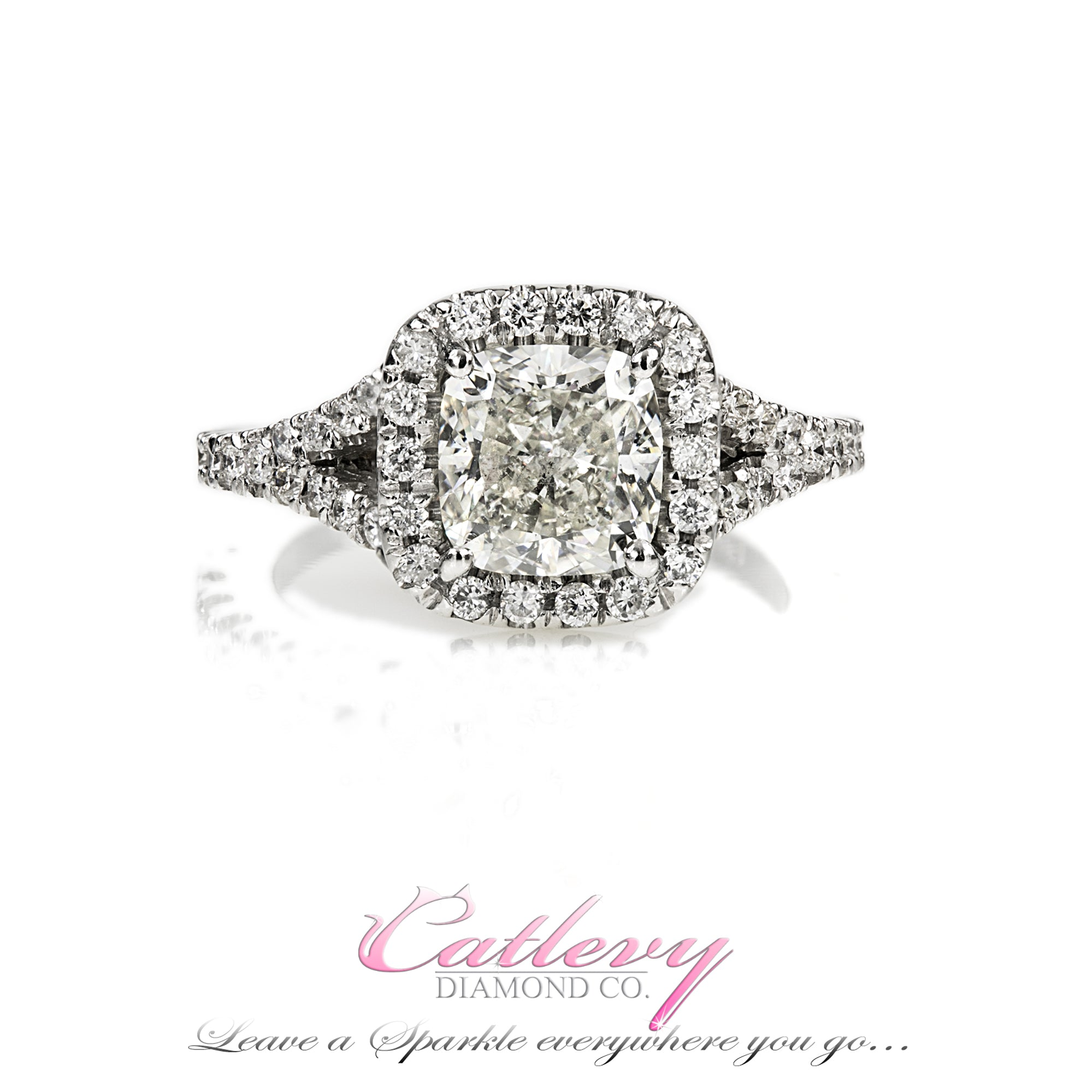 Split Shank Cushion Cut Engagement Ring