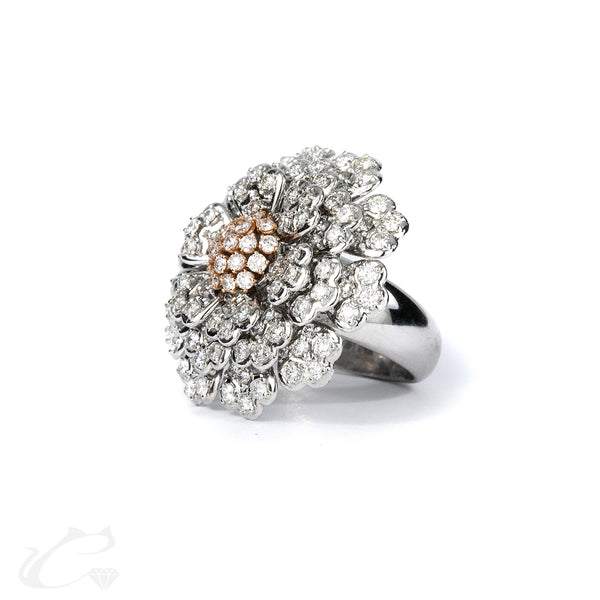14k White Gold Flower Diamond Ring