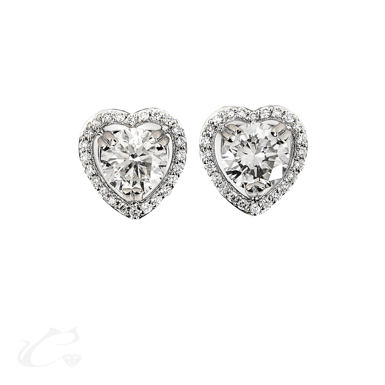 2.32 CTW Heart Halo Round Diamond Earrings