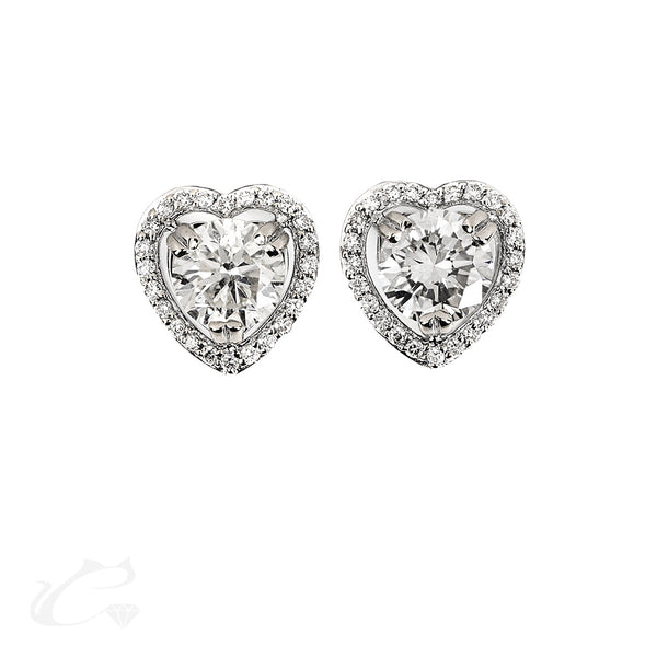 Heart Halo Round Brilliant Diamond Earrings