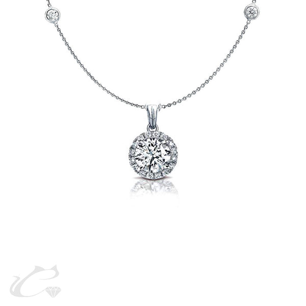 Diamond Halo Pendant on Bezel Diamond Chain