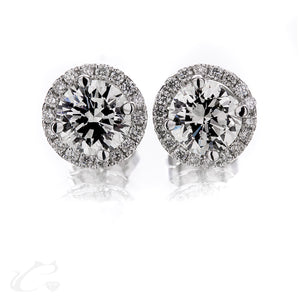 Round Brilliant Diamonds Halo Earrings