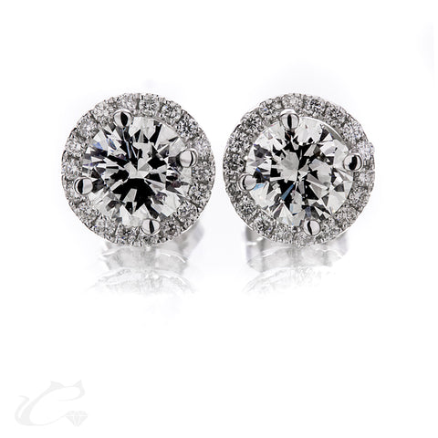 Round Brilliant Diamond Halo Earrings