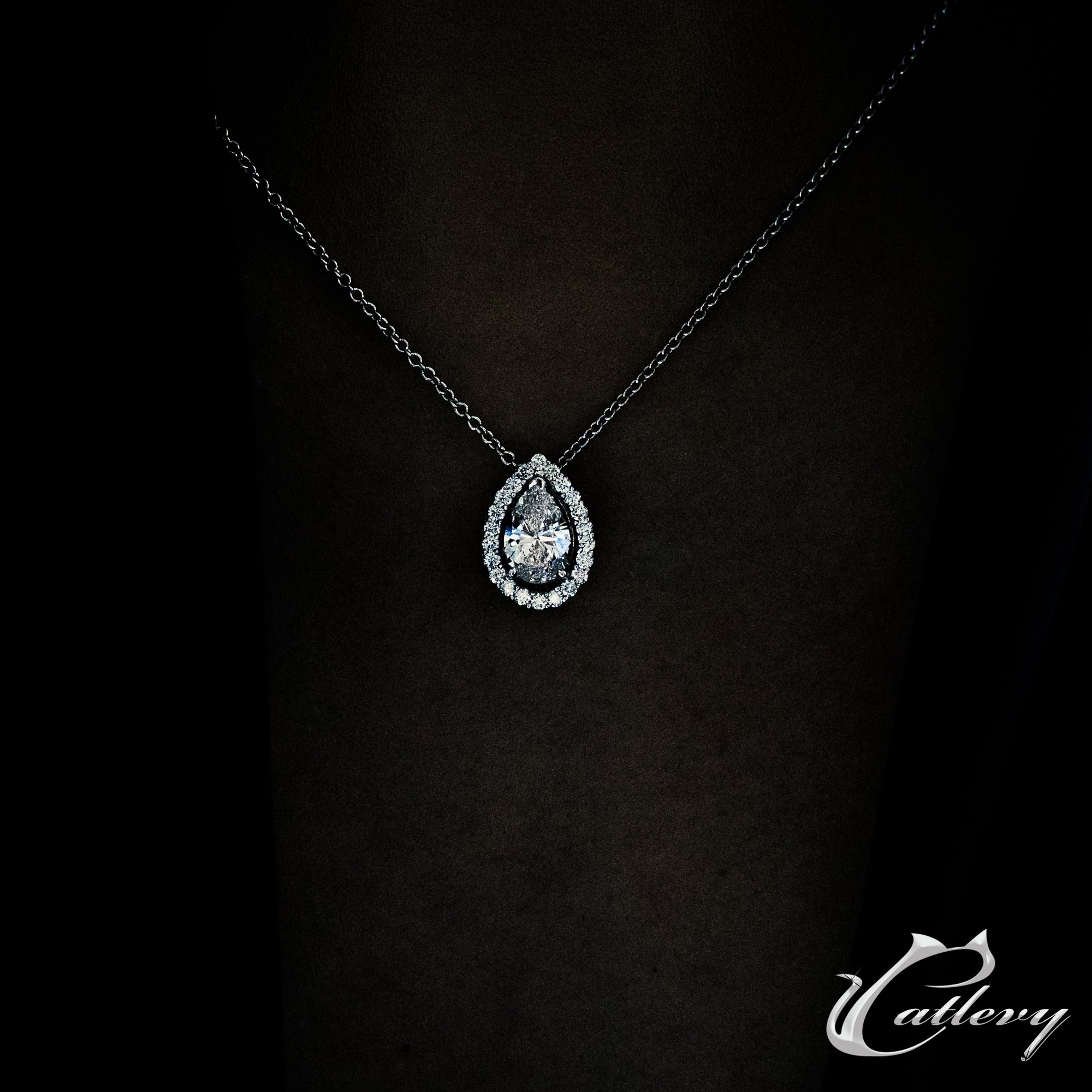 Pear Halo Pendant