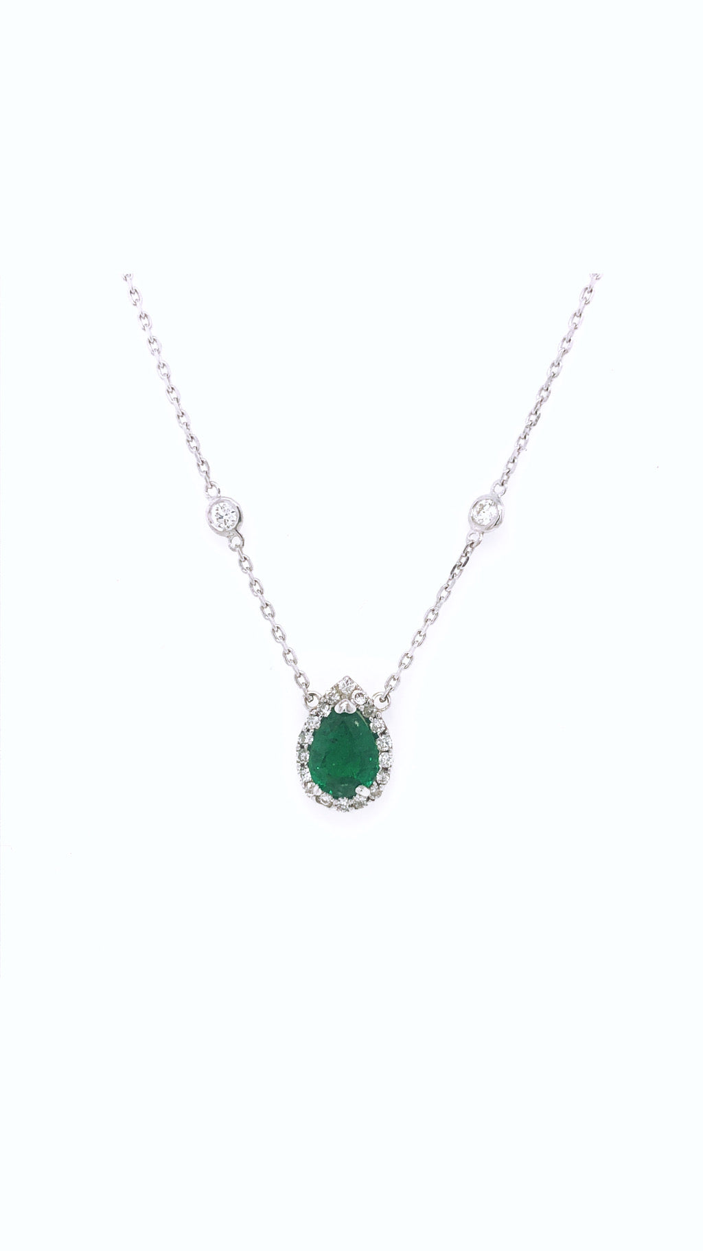 Halo Emerald Pear with Diamond Yard Necklace