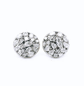 Diamond Dime Cluster Earrings