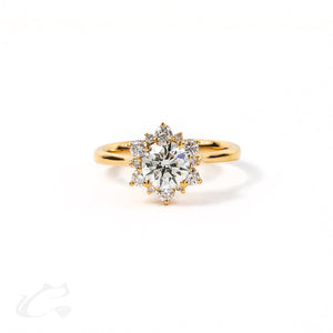 Flower Halo Round Brilliant Ring