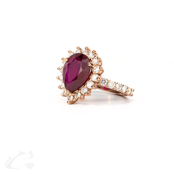 Pear Shape Ruby and Round Diamond Halo Ring