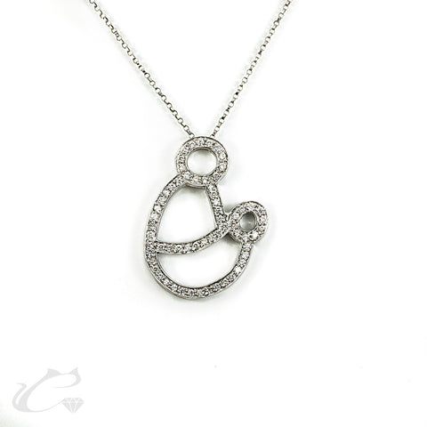 14k White Gold Mother and Child Diamond Pendant