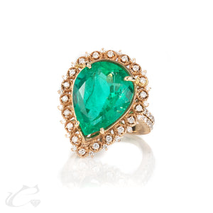 Colombian Emerald and Diamond Statement Ring