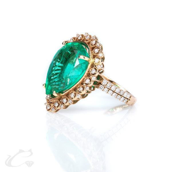 Colombian Emerald and Diamond Statement Ring 7.47CTW