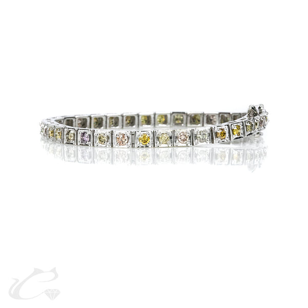 Fancy Color Diamond Tennis Bracelet