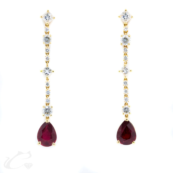 Dangling Diamond and Ruby Earrings