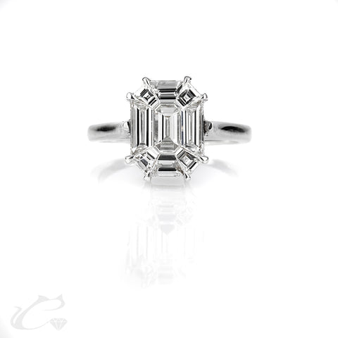 Kylie Emerald Cut Illusion Solitaire