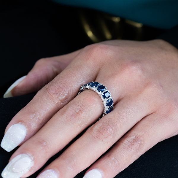 Diamonds & Sapphires Eternity Ring