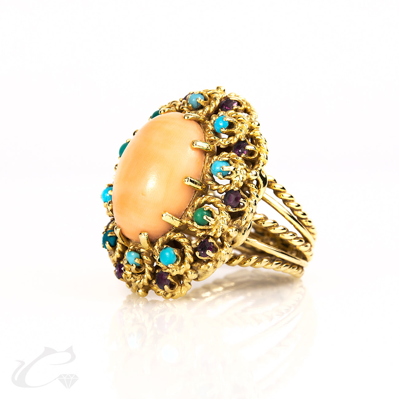Coral, Turquoise, and Ruby Estate Ring