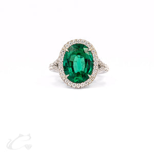 Green Emerald Oval Ring