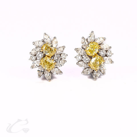 Cluster of Canary and White Diamond Earrings