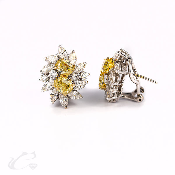 Canary and White Diamond Cluster Earrings