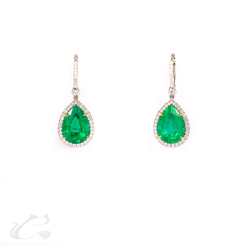 Halo Emerald Pear Shape Dangling Earrings
