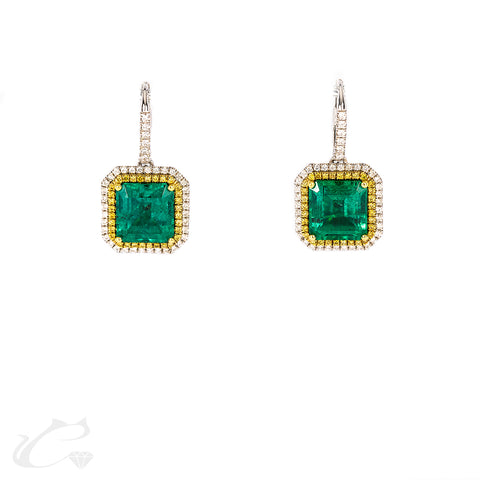 Double Halo Diamond and Emerald Dangling Earrings