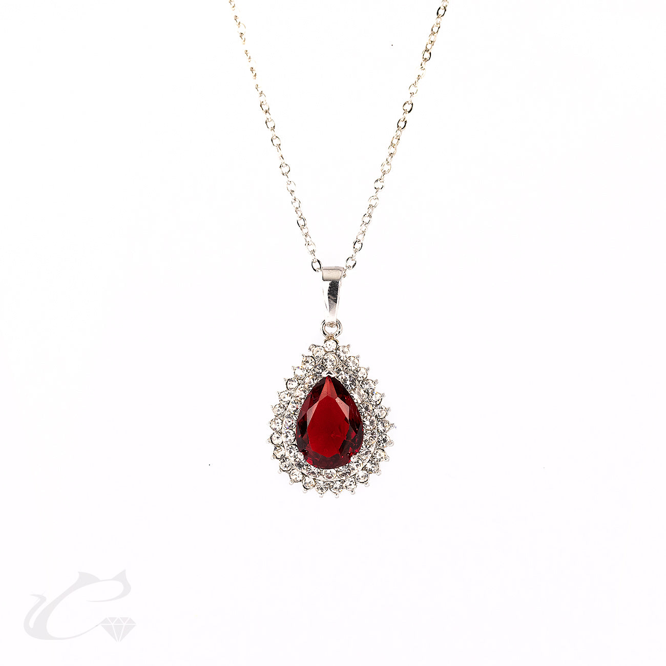 Double Halo Ruby Pear & Diamond Pendant