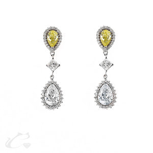 Dangling Pear Shape, Princess, & Round Diamond Earrings