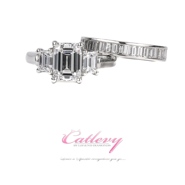 3 Stone Emerald Cut Ring