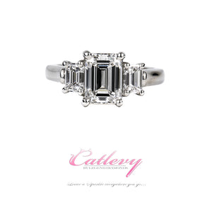Classic 3 Stone Emerald Cut Diamond Ring