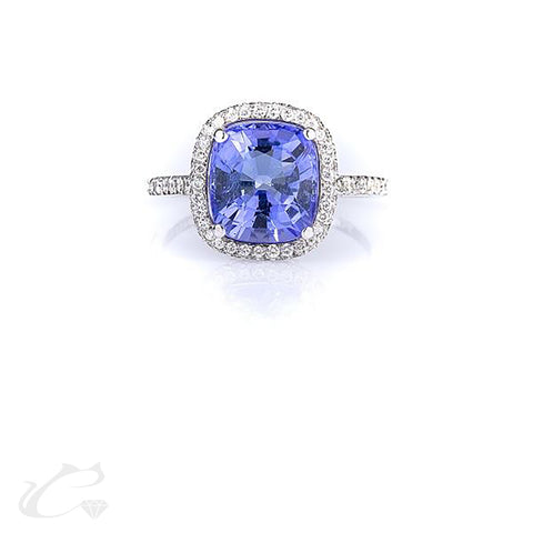 3.50 ctw Tanzanite & Diamond Halo Ring