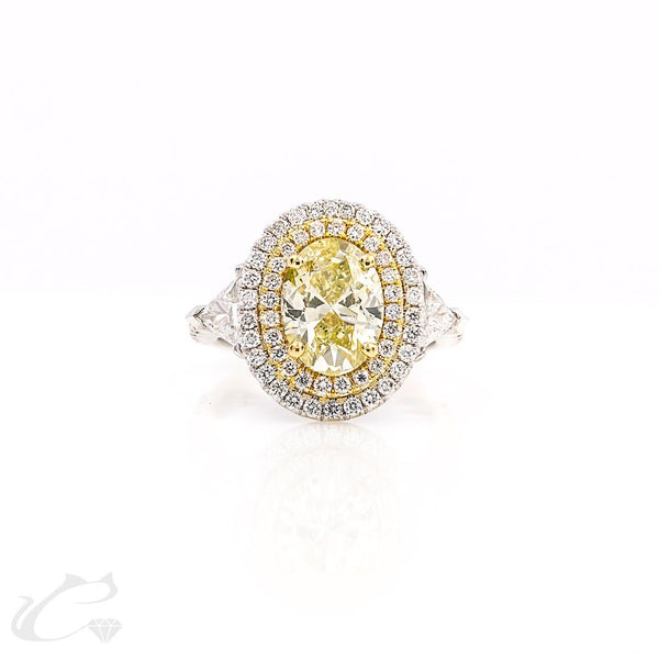 Fancy Yellow Oval Diamond Ring with  Double Diamond Halos
