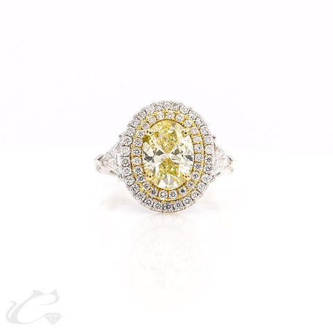 14K W/G Yellow Diamond Double Halo Oval Ring 2.90CTW