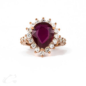 14k Rose Gold Ruby and Diamond Halo Ring **