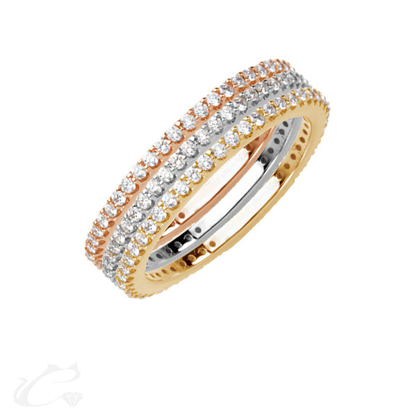 Tri-Color Eternity Stackable Rings