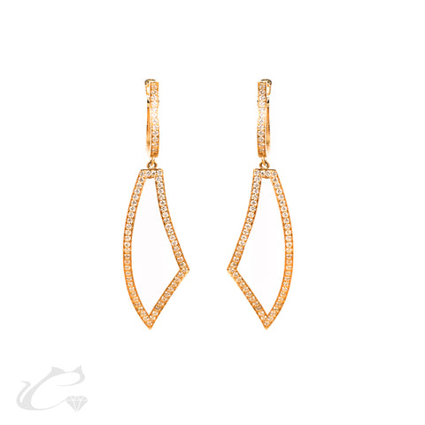 18k Rose Gold Triangle Earrings