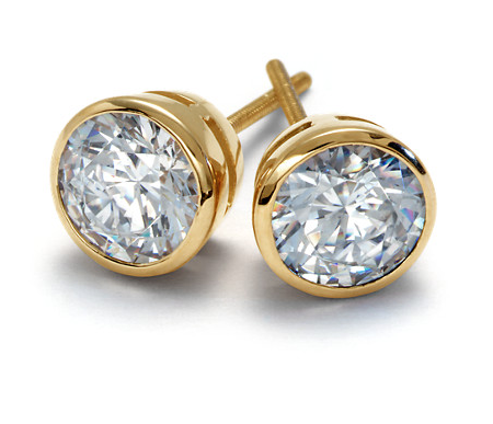 Round Brilliant Bezel Set Diamond & Earrings Set