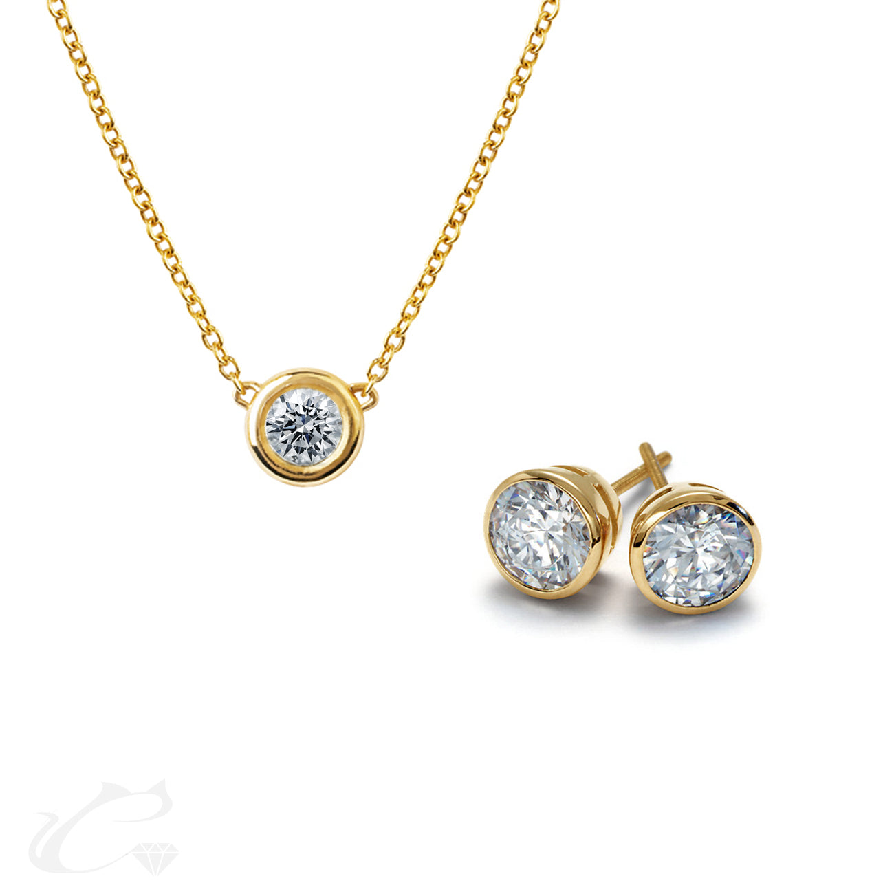 Bezel Earrings and Necklace Set