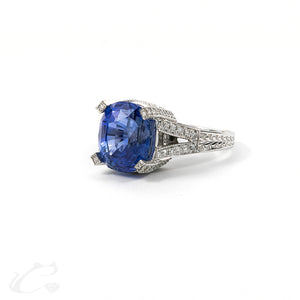Sapphire and Diamond Royalty Ring