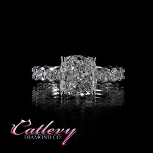 Cushion Cut & Round Diamond Engagement Ring