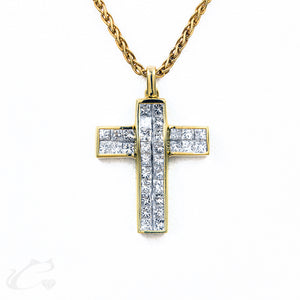 18K Y/G Diamonds Cross Pendant