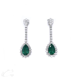 Pear Shape Emerald Drop Earrings