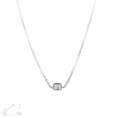 Emerald Diamond Line Necklace