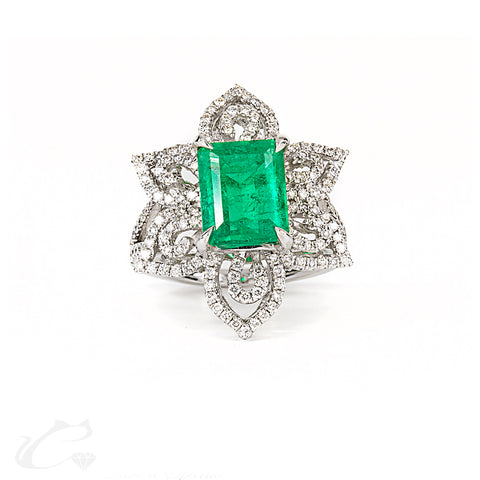 Green Emerald Cocktail Ring