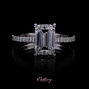 Emerald Cut with Pave Band Engagement Ring
