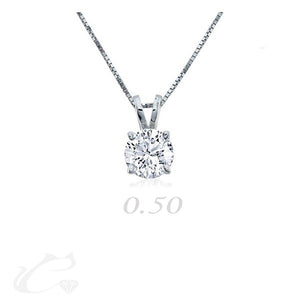 Solitaire Round Diamond Pendant - 0.50 ct