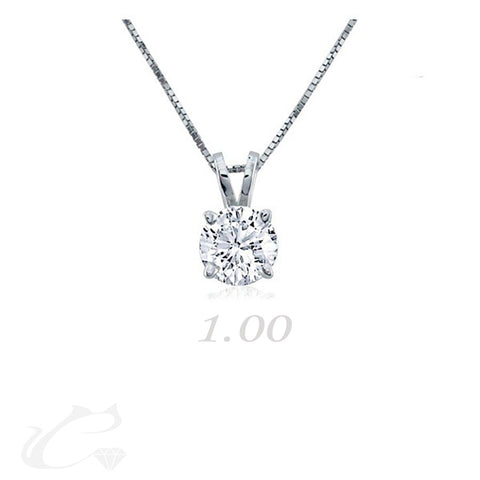 Solitaire Round Brilliant Diamond Pendant - 1.00 ct