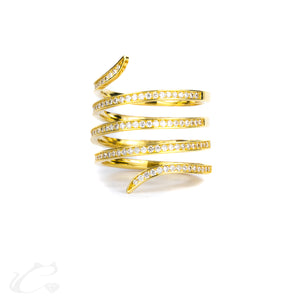 18k Gold Spiral Diamond Ring