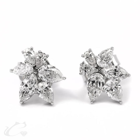 MARQUISE & PEAR DIAMOND CLUSTER EARRINGS