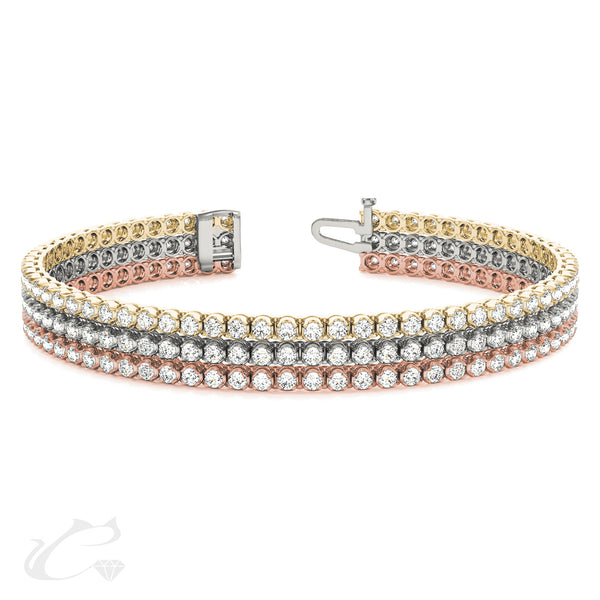 3 Row Diamond Tennis Bracelet