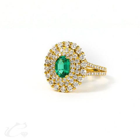 18k Yellow Gold Triple Halo Oval Green Emerald Ring